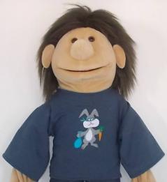 "Shirt ""Hase"" graublau"