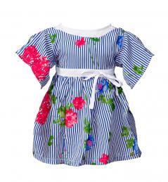 Kleid blau-weiß mit Rosen