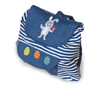 Backpack blue with rabbit embroidery