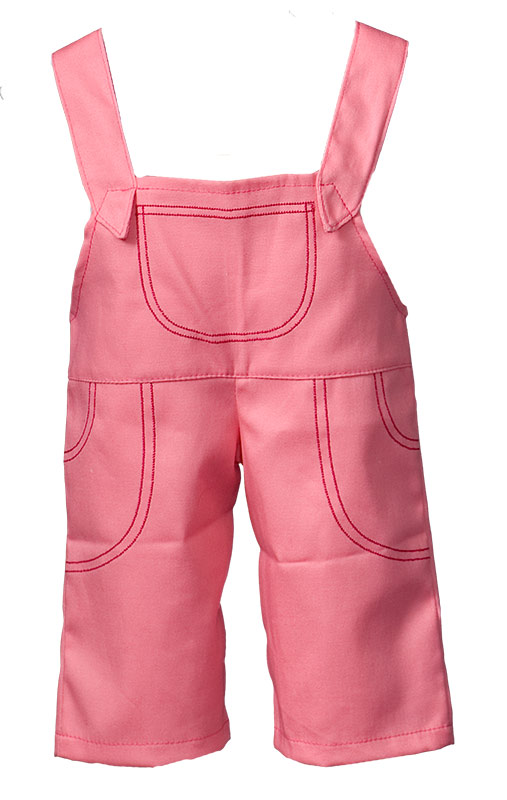 Salmon-pink overalls