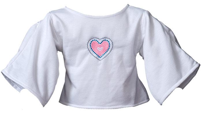 Shirt mit Herzstickerei weiß