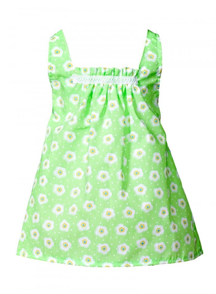 Green dress with flower prints